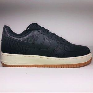 Womens Nike Air Force 1 '07 Black White Tan Shoes